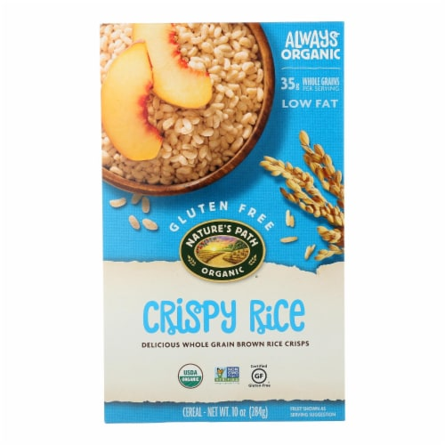 Nature's Path Organic Whole Grain Crispy Rice Cereal - Case of 12 - 10 oz. Perspective: front