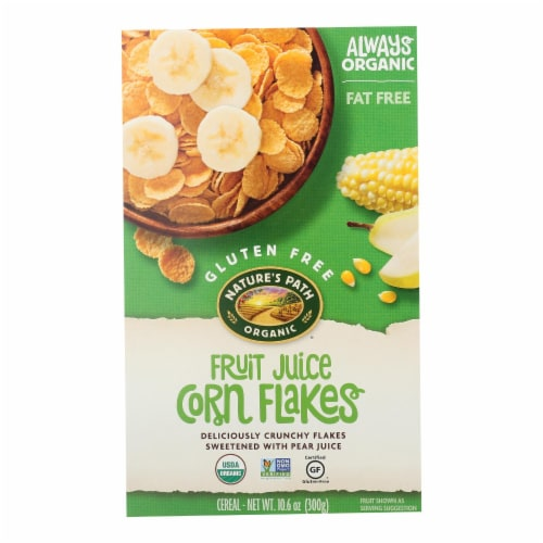 Nature's Path Organic Corn Flakes Cereal - Fruit Juice Sweetened - Case of 12 - 10.6 oz. Perspective: front