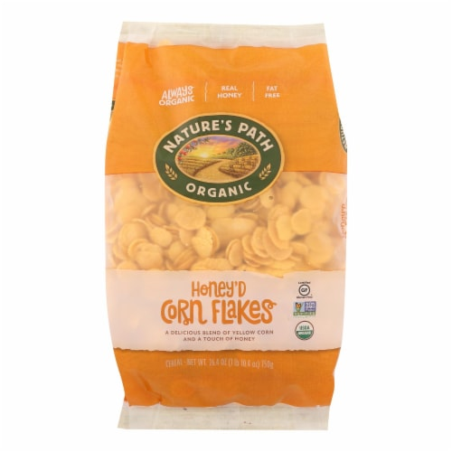 Nature's Path Organic Corn Flakes Cereal - Honey'D - Case of 6 - 26.4 oz. Perspective: front
