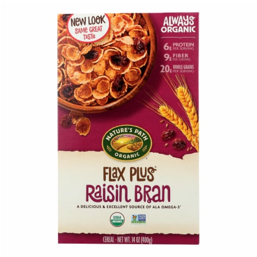 Nature's Path Organic Flax Plus Raisin Bran Cereal - Case of 12 - 14 oz. Perspective: front