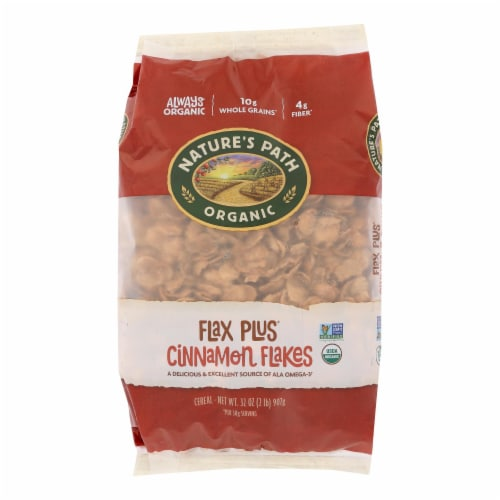Nature's Path Organic Flax Plus Cereal - Cinnamon - Case of 6 - 32 oz. Perspective: front