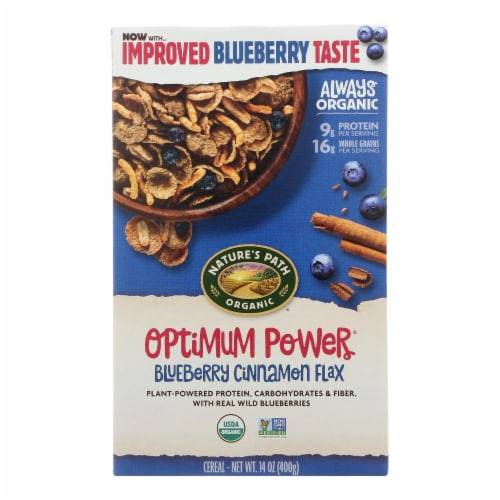 Nature's Path Organic Optimum Power Flax Cereal - Blueberry Cinnamon - Case of 12 - 14 oz. Perspective: front