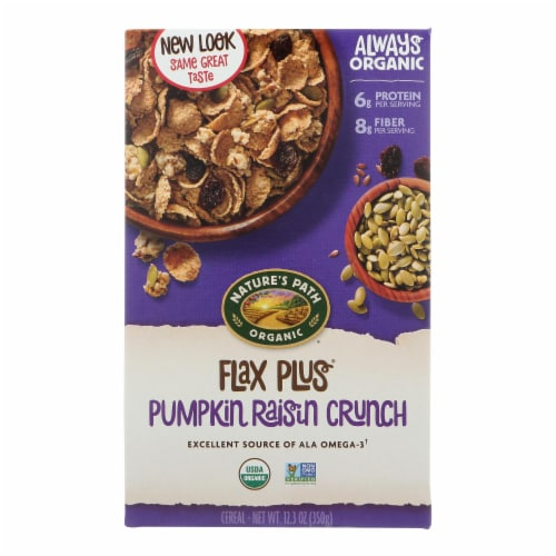 Nature's Path Organic Flax Plus Cereal - Pumpkin Raisin Crunch - Case of 12 - 12.35 oz. Perspective: front