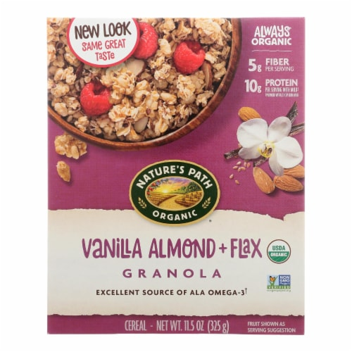 Nature's Path Organic Flax Plus Vanilla Almond Granola - Case of 12 - 11.5 oz. Perspective: front