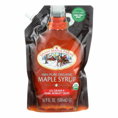 Shady Maple Farms 100 Percent Pure Organic Maple Syrup - Case of 6 - 16.9 Fl oz. Perspective: front