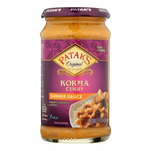 Pataks Simmer Sauce - Korma Curry - Mild - 15 oz - case of 6 Perspective: front