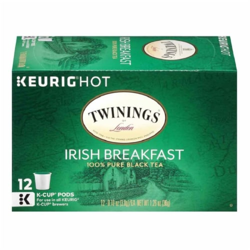 Twinings of London Irish Breakfast Black Tea K-Cup Packs 12-0.11 oz, (Pack of 6) Perspective: front