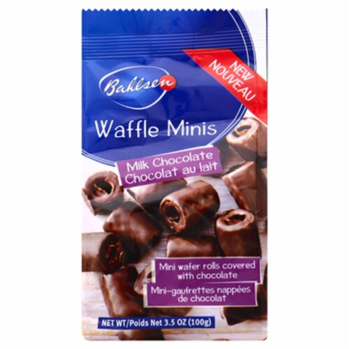 Bahlsen Waffel Minis Milk Chocolaye Crispy rolled Wafers 3.5OZ (Pack OF 12) Perspective: front