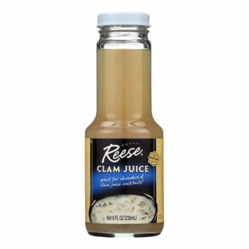 Reese Clam Juice Bottle - Case of 6 - 8 Fl oz. Perspective: front