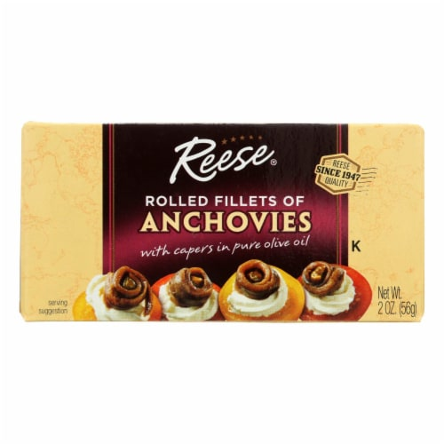 Reese Anchovies - Rolled - Case of 10 - 2 oz Perspective: front