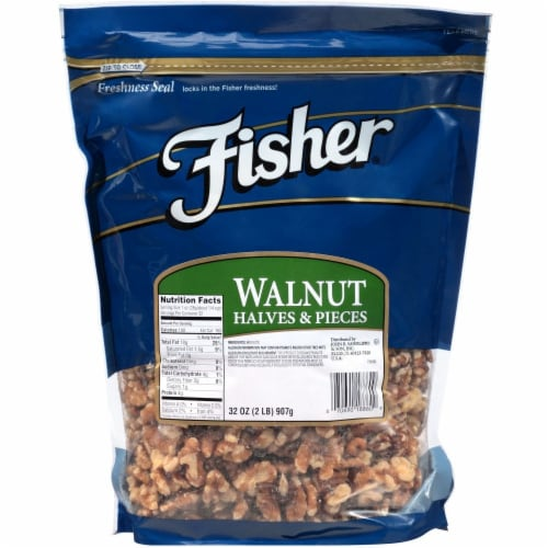 Fisher Chefs Naturals Halve and Piece Walnut, 2 Pound -- 3 per case. Perspective: front