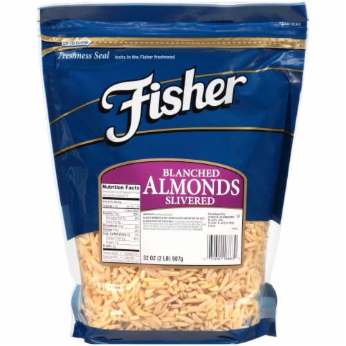 Fisher Chefs Naturals Blanched Slivered Almond, 2 Pound -- 3 per case. Perspective: front
