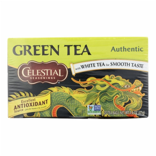 Celestial Seasonings Authentic Green Tea - Case of 6 - 20 Bags Perspective: front