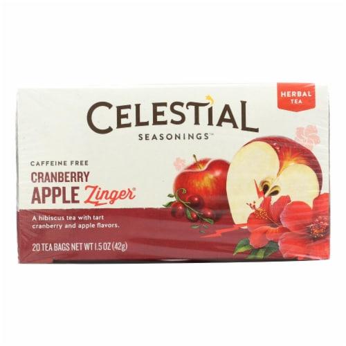 Celestial Seasonings Herbal Tea - Cranberry Apple Zinger - Caffeine Free - 20 Bags Perspective: front