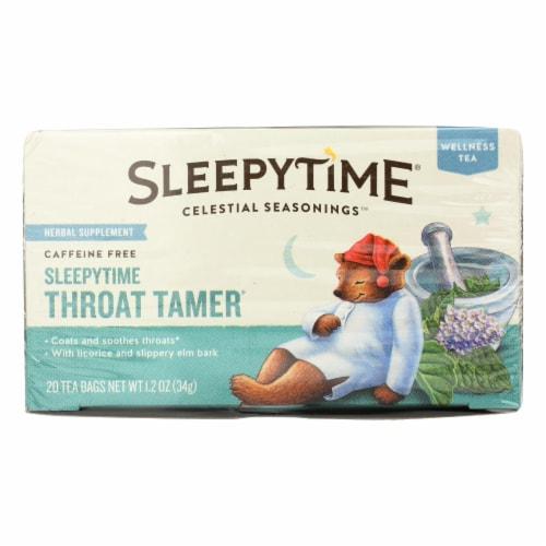 Celestial Seasonings Throat Tamer Herbal Tea - Case of 6 - 20 BAG Perspective: front