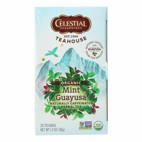 Celestial Seasonings - Organic Tea - Teahouse Mint Guayusa - Case of 6 - 20 Bags Perspective: front
