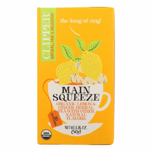 Clipper Main Squeeze Organic Lemon & Ginger Herbal Tea, 1.76 oz (Pack of 6) Perspective: front