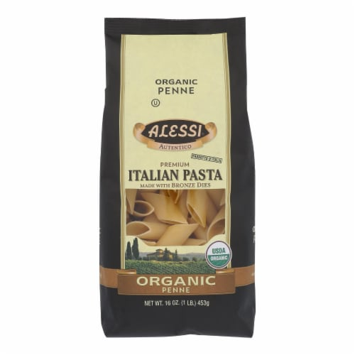 Alessi - Premium Italian Pasta - Organic Penne - Case of 6 - 16 oz. Perspective: front