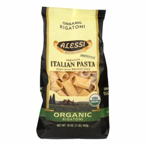 Alessi - Premium Italian Pasta - Organic Rigatoni - Case of 6 - 16 oz. Perspective: front
