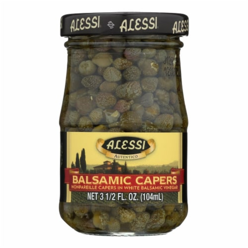 Alessi - Capers in White Balsamic Vinegar - 3.5 oz - Case of 6 Perspective: front