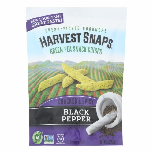 Harvest Snaps Cracked & Spicy Black Pepper Green Pea Snack Crisps - Case of 12 - 3.3 oz Perspective: front