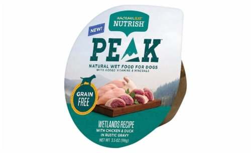 Rachael Ray Nutrish Peak Grain Free Wetland Chicken and Duck Wet Dog Food Perspective: front