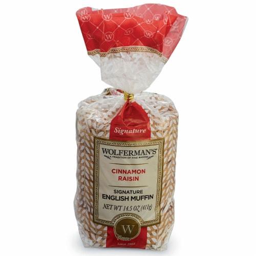 Wolfermans Cinnamon and Raisin Signature English Muffin - 4 per bag -- 12 bags per case. Perspective: front