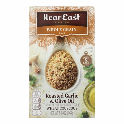 Near East Whole Wheat Couscous - Roasted Garlic and Olive Oil - Case of 12 - 5.8 oz. Perspective: front