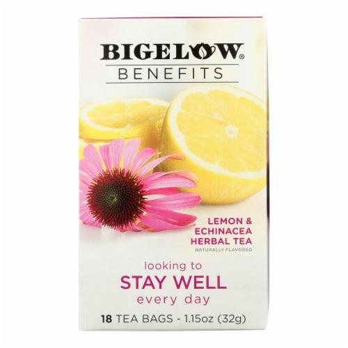 Bigelow Benefits Stay Well Lemon & Echinacea Herbal Tea Perspective: front