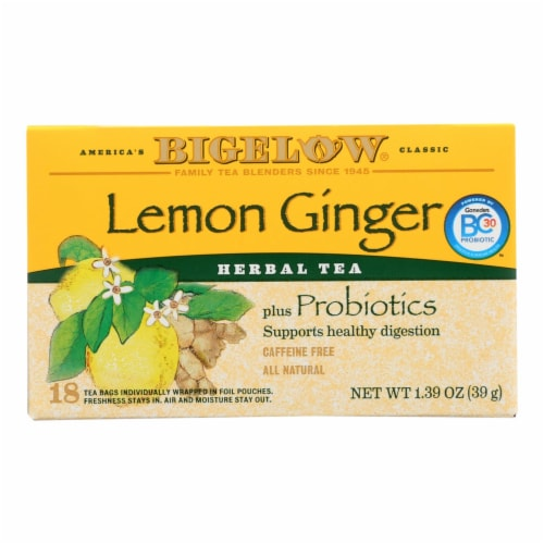 Bigelow Tea Herbal Tea - Plus Lemon Ginger - Case of 6 - 18 BAG Perspective: front