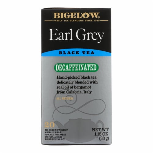 Bigelow Tea Earl Grey Decaffeinated Black Tea - Case of 6 - 20 Bags Perspective: front