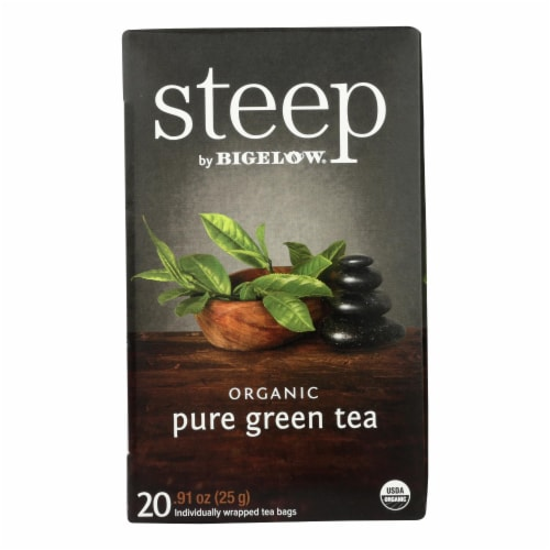 Steep By Bigelow Organic Green Tea - Pure Green - Case of 6 - 20 BAGS Perspective: front