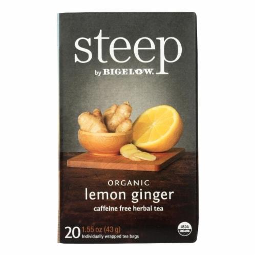 Steep By Bigelow Organic Herbal Tea - Lemon Ginger - Case of 6 - 20 BAGS Perspective: front