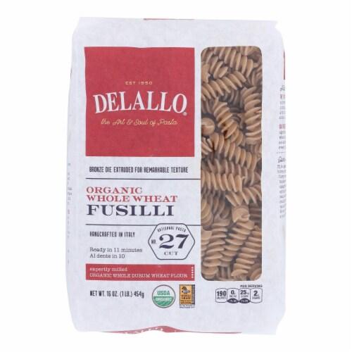 Delallo - Organic Whole Wheat Fusilli Pasta - Case of 16 - 1 lb. Perspective: front