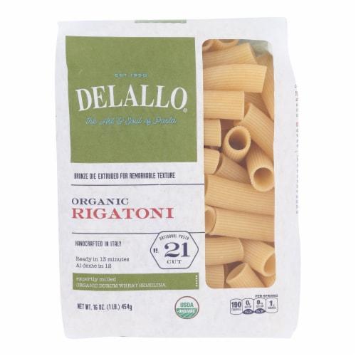 Delallo - Organic Rigatoni Pasta - Case of 16 - 1 lb. Perspective: front
