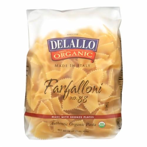 Delallo - Organic Farfalloni Pasta - Case of 16 - 1 lb. Perspective: front
