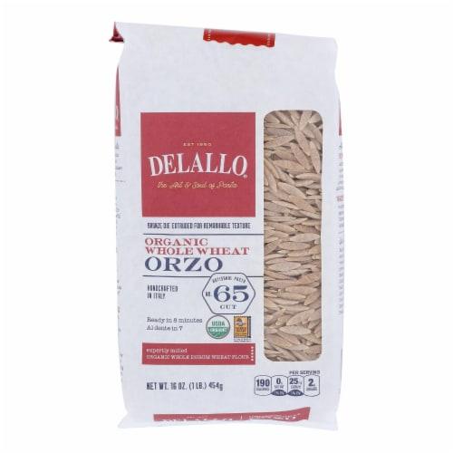 Delallo - Organic Whole Wheat Orzo Pasta - Case of 16 - 16 oz. Perspective: front