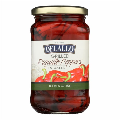 Delallo - Grilled Piquillo Peppers - Case of 12 - 12 oz. Perspective: front