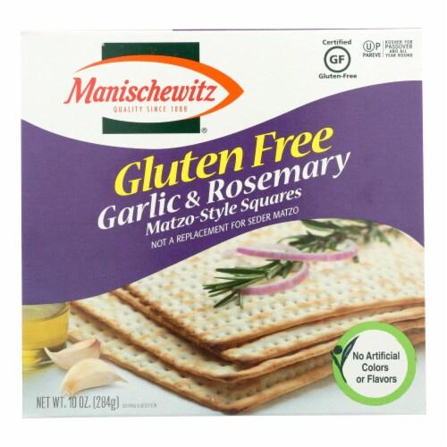 Manischewitz Garlic Rosemary Gluten Free Matzo Style Squares  - Case of 12 - 10 OZ Perspective: front