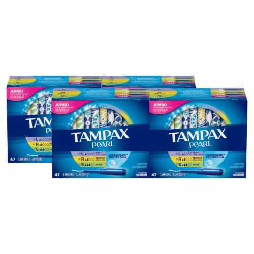 Tampax Pearl Unscented Light/Regular/Super absorbency Tampons 188 Count Perspective: front