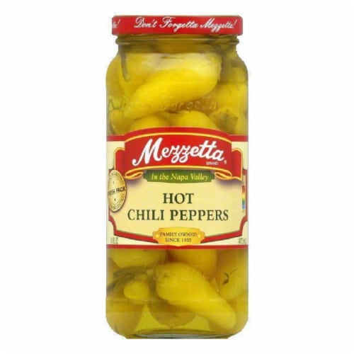 Mezzetta Chili Peppers Hot, 16 OZ (Pack of 6) Perspective: front