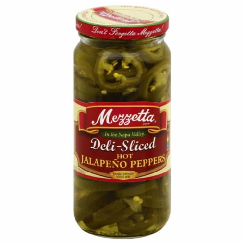 Mezzetta Deli-Sliced Hot Jalapeno Peppers, 16 Oz (Pack of 6) Perspective: front