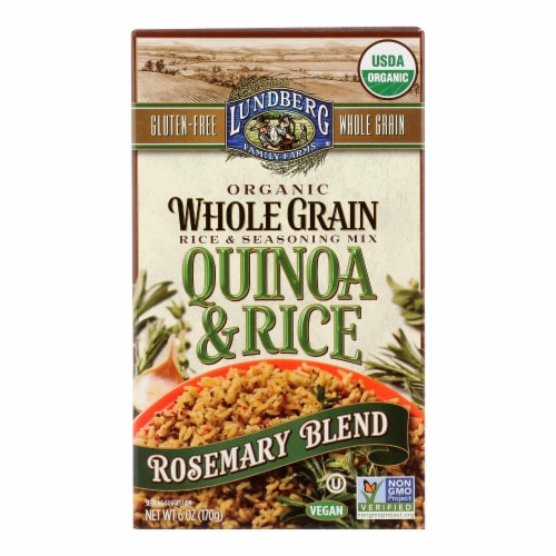 Lundberg Family Farms Organic Quinoa and Rice - Rosemary Blend - Case of 6 - 6 oz. Perspective: front