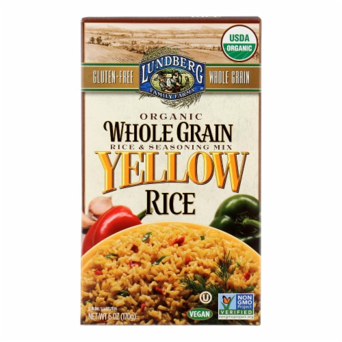 Lundberg Family Farms Organic Whole Grain Yellow Rice - Case of 6 - 6 oz. Perspective: front
