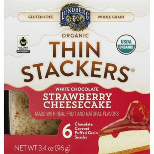 Lundberg Family Farms Organic White Chocolate Strawberry Cheesecake, , 3.4oz (Pack of 6) Perspective: front