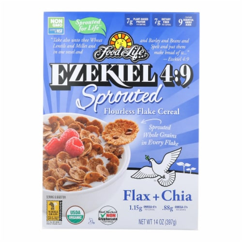 Food For Life Ezekiel 4:9 Sprouted Flourless Flake Cereal  - Case of 6 - 14 OZ Perspective: front