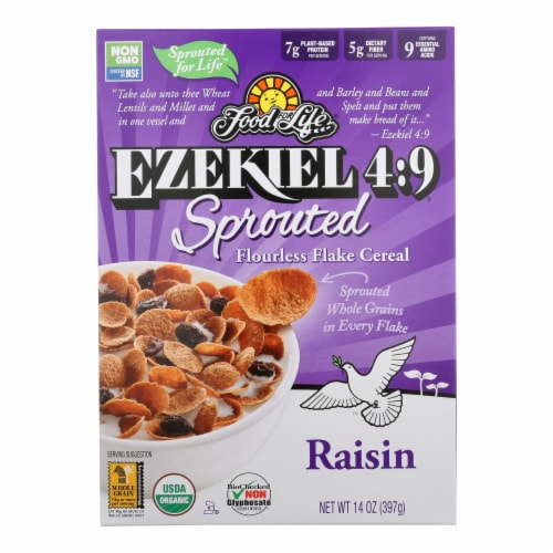 Food For Life Raisin Flake Cereal  - Case of 6 - 14 OZ Perspective: front
