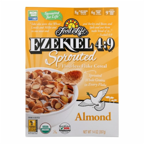 Food For Life Almond Flake Cereal  - Case of 6 - 14 OZ Perspective: front
