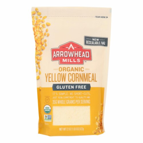 Arrowhead Mills - Organic Yellow Corn Meal - Gluten Free - Case of 6 - 22 oz. Perspective: front
