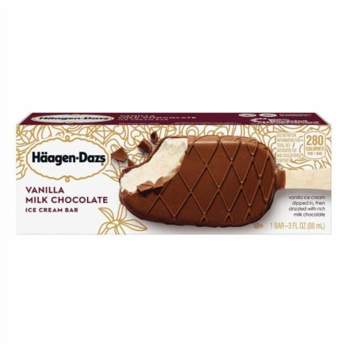 Haagen Dazs, Vanilla Milk Chocolate Ice Cream Bar, 3.67 oz. (12 Count) Perspective: front